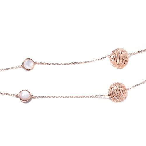 Isabella Liu - Sea Rhyme Collection - White Mother of Pearl (Rnd) Necklace (Size 33) in Rose Gold Overlay Sterling Silver 10.77 Ct.