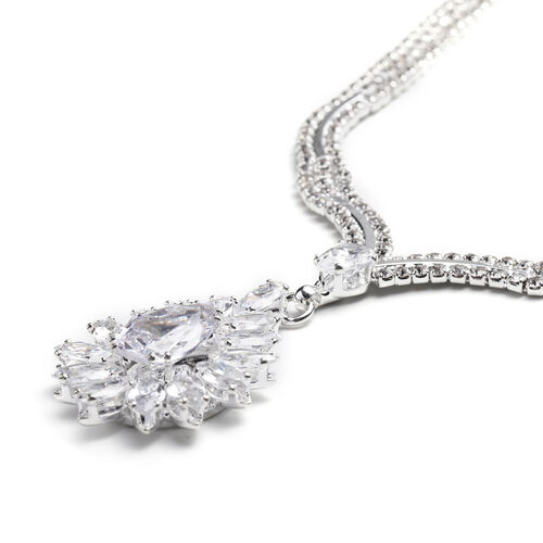 2 Piece Set - Simulated Diamond and White Austrian Crystal Necklace and Earrings in Silver Tone