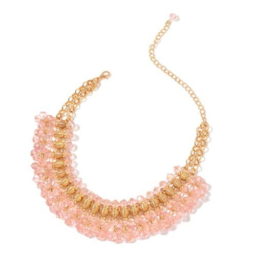 Simulated Pink Sapphire Choker Necklace (Size 13 with 6 inch Extender) in Yellow Gold Tone