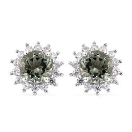 Prasiolite (Rnd 3.60 Ct), Natural Cambodian Zircon Stud Earrings (with Push Back) in Platinum Overla