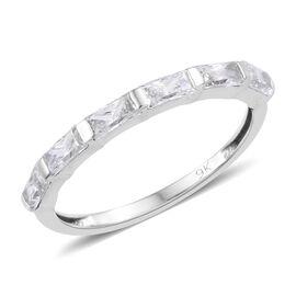 J Francis 9K White Gold (Bgt) Band Ring Made with SWAROVSKI ZIRCONIA