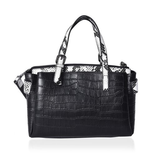 100% Genuine Leather Croc Embossed Tote Bag with Snake Skin Pattern Removable Shoulder Strap (Size 27x13x18 Cm)  - Black