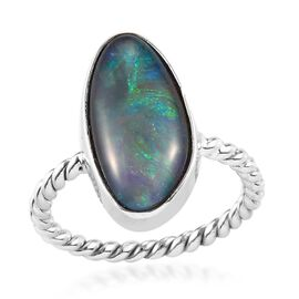 Australian Boulder Opal Ring in Platinum Overlay Sterling Silver