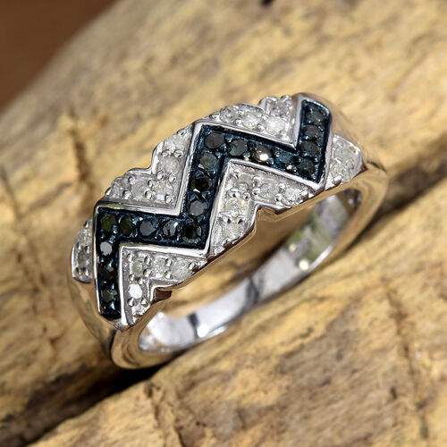 Blue and White Diamond (Rnd) Zig Zag Ring in Platinum Overlay Sterling Silver 0.500 Ct.