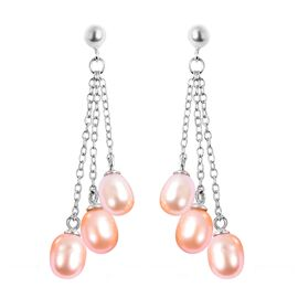 Freshwater Pink Pearl Detachable Dangle Earrings (with Push Back) in Rhodium Overlay Sterling Silver