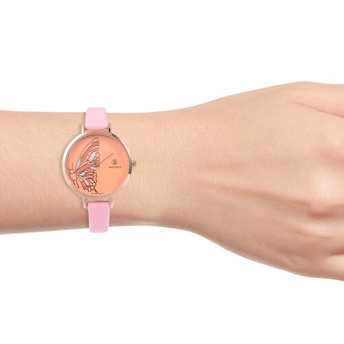 STRADA Japanese Movement White Crystal Studded Butterfly Water Resistant Watch with Pink Colour Strap