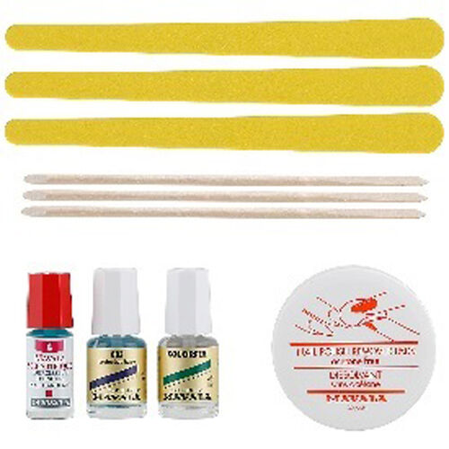 MAVALA- Pouchette- Mavala Scientifique 2ml, Mavala 002 Base Caot 5ml, Colorfix Top Coat 5ml, Nail Polish remover pads, Manicure sticks x 3, Emery Boards x 3 all in a Mavala Pouch