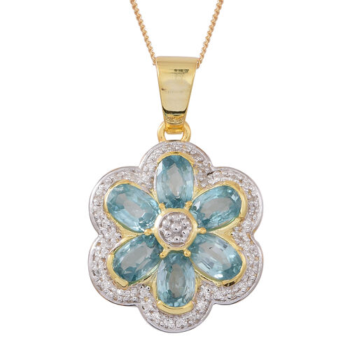 Collectors Edition- Ratanakiri Blue Zircon (Ovl), Natural White Cambodian Zircon Floral Pendant with Chain (Size 18) in Rhodium and 14K Gold Overlay Sterling Silver 4.750 Ct.
