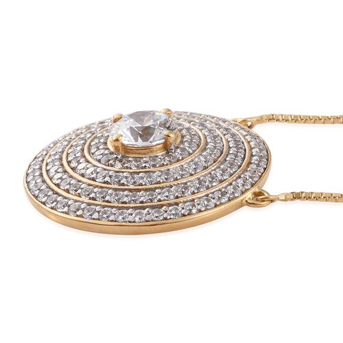 Limited Edition-J Francis - 14K Gold Overlay Sterling Silver (Rnd) Adjustable Necklace (Size 18) Made with SWAROVSKI ZIRCONIA, Number of Swarovski 123 Silver wt 11.62 Gms.