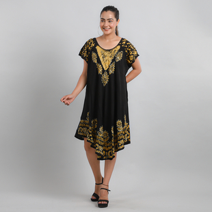 Viscose Crepe Umbrella Dress Embellished with Batik and Embroidery (Size 120x105 Cm) - Black & Yello