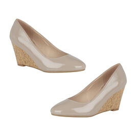 Lotus Nude Crinkle Patent Georgia Wedge Shoes
