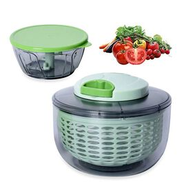 2 Piece set - Multi-Function Salad Spinner and Chopper - Green