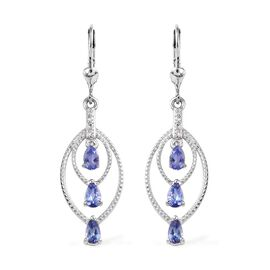 1.25 Ct Tanzanite and Zircon Drop Earrings in Platinum Plated Silver