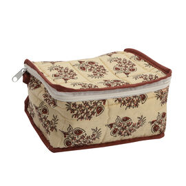 Cotton Traditional Print Quilted Makeup Bag (Size 15x7x14cm) - Beige and Red