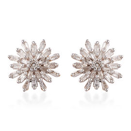 Diamond (Rnd and Bgt) Snow Flake Earrings (with Push Black) in 14K Gold Overlay Sterling Silver 0.33