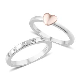 2 Piece Set - Natural White Cambodian Zircon (Rnd) Heart and Band Ring in Rose Gold and Platinum Ove
