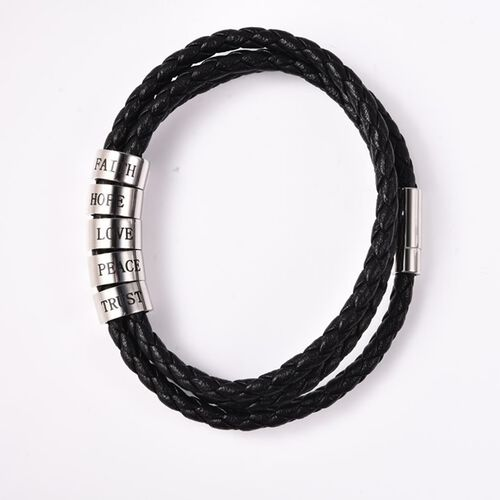 Personalise Engravable 2 Rings Leather Bracelet