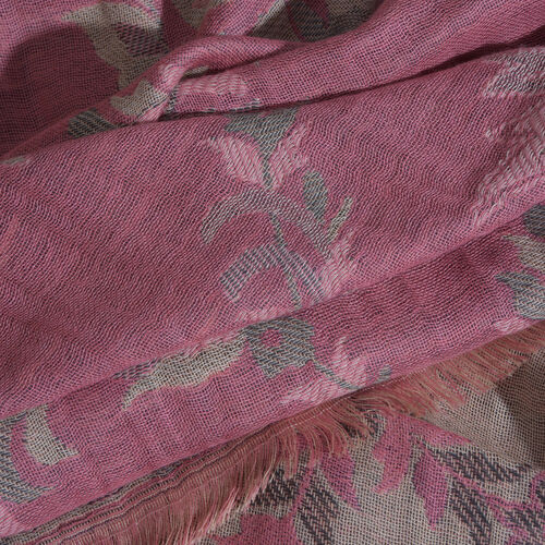 100% Cotton Pink, Green and Multi Colour Paisley and Leaves Pattern Scarf (Size 180X75 Cm)