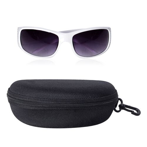 Shiny Ivory Frame Sunglasses with Bling Crystals and UV Protection Lenses Including Hard Plastic Black Pouch