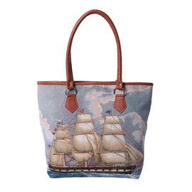 Sailboat Print Jute Tote Bag (Size 42/32x10.5x35cm) - Blue