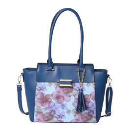 Floral Pattern Satchel Bag with Adjustable Shoulder Strap, Tassel and Magnetic Closure in Navy (32x2