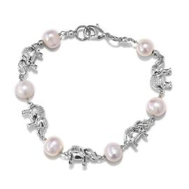 Freshwater Pearl Elephant Bracelet in Platinum Plated 7.5 Inch