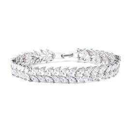 ELANZA Simulated Diamond (Mrq) Leafy Vine Bracelet (Size 7.5) in Rhodium Overlay Sterling Silver, Si