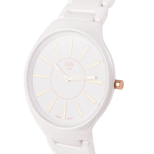 EON 1962 3ATM Water Resistant Watch in Stainless Steel with White Ceramic Chain Strap and Butterfly Buckle