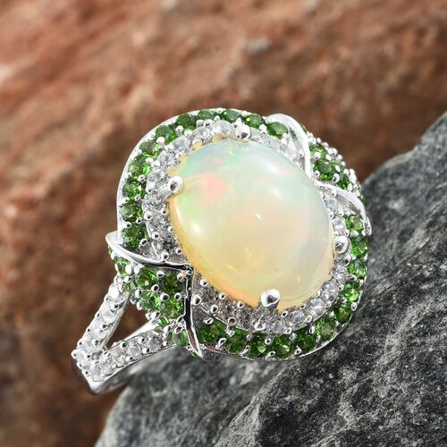 Rare Size Ethiopian Welo Opal (Ovl 3.50 Ct), Natural Cambodian Zircon and Russian Diopside Ring in Platinum Overlay Sterling Silver 5.000 Ct.