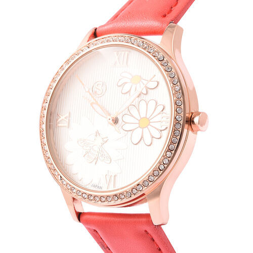 STRADA Japanese Movement White Austrian Crystal Studded Flower Bee Dial Water Resistant Watch with Red Colour Strap