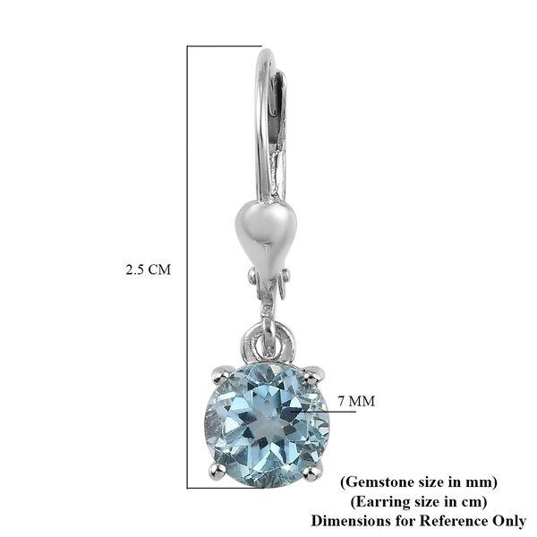 Sky Blue Topaz (Rnd) Lever Back Earrings in Platinum Overlay Sterling Silver 2.95 Ct.