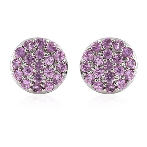 RHAPSODY 1.50 Ct AAAA Pink Sapphire Pave Disc Stud Earrings in 950 Platinum (with Screw Back)