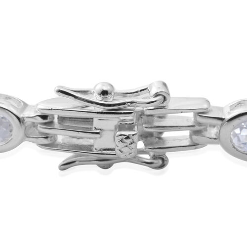 One Time Close Out Deal- Elanza Simulated Diamond (Rnd) Bracelet (Size 6.75) in Sterling Silver, Silver wt 10.38 Gms.