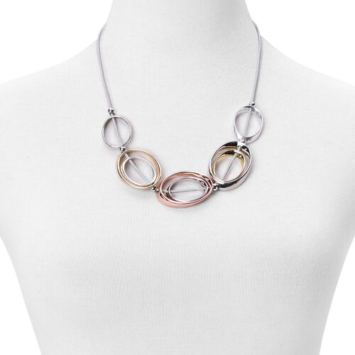 White, Yellow and Rose Gold Tone Necklace (Size 22)