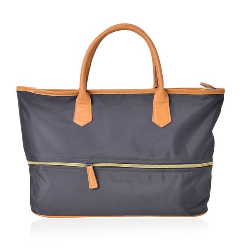 Charcoal Colour Foldable Waterproof Two Size Tote Bag (Size 44X34X12 Cm)
