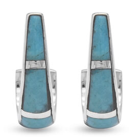 Santa Fe Collection - Turquoise Huggie Earrings (with Push Back) in Rhodium Overlay Sterling Silver