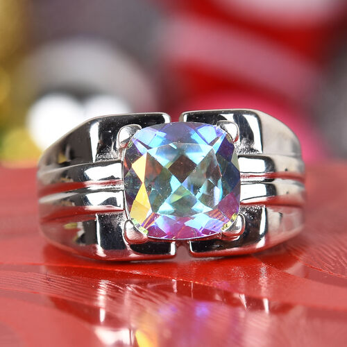 Mercury Mystic Topaz Solitaire Ring in Platinum Overlay Sterling Silver 3.75 Ct, Silver wt 5.46 Gms