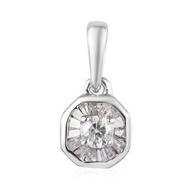 9K White Gold SGL Certified Diamond (Rnd and Bgt) (I3/ G-H) Pendant  0.25 Ct.