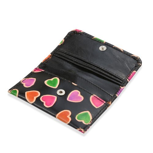 100% Genuine Leather Black and Multi Colour Heart Hand Painted Card Holder (12x8 Cm), Coin Pouch (10x4 Cm) and Keyring (4 Cm)