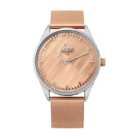 Hype Ladies Watch with Silver Case, Pale Rose Matte Mirror Dial and Rose Gold Mesh Strap