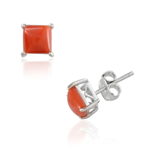 Natural Mediterranean Coral (Sqr) Earrings in Platinum Overlay Sterling Silver 1.250 Ct.