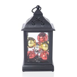 Xmas Decorations - Lantern with 9 Christmas Balls and LED Light (Needs 3 AA Batteries)