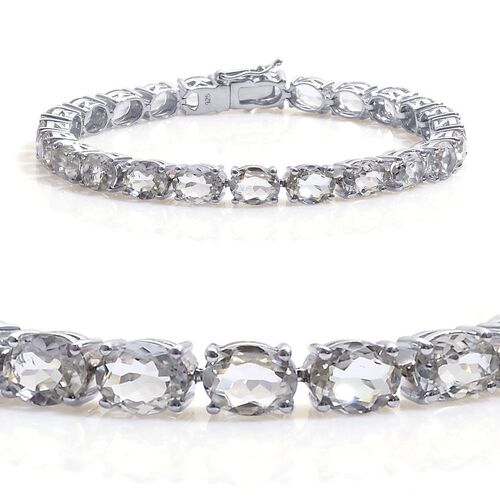 Green Sillimanite (Ovl) Tennis Bracelet in Platinum Overlay Sterling Silver (Size 7.5) 26.500 Ct.