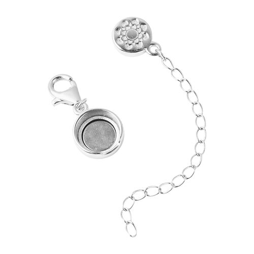 Rhodium Overlay Sterling Silver Engraved Clasp