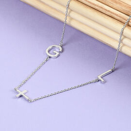 Personalise Two Alphabet + Cross, Name Necklce in Silver, Size 18+2 Inch