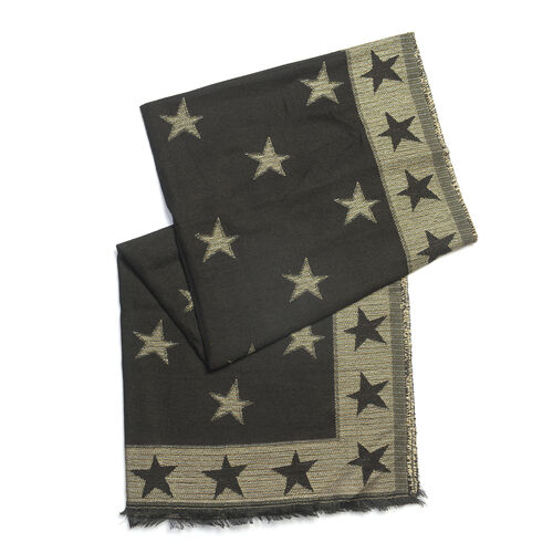 Star Pattern Black Colour Blend Scarf (Size 70x185 Cm)