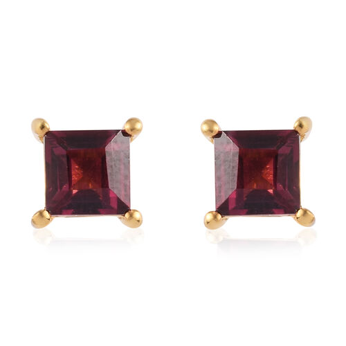 Rose Garnet Stud Earrings (with Push Back) in 14K Gold Overlay Sterling Silver 1.75 Ct.