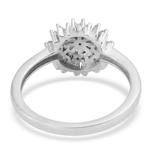 Diamond (Rnd) Starburst Ring in Platinum Overlay Sterling Silver 0.500 Ct.