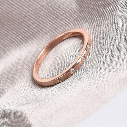 Diamond stackable Band Ring in Rose Overlay Sterling Silver 0.05 Ct.