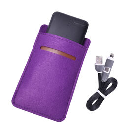 10000mAh power bank with black sleeve & 2 in 1 charging cable